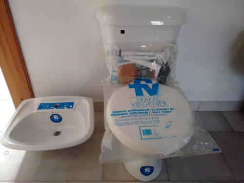 Juego sala de baño poceta lavamano sanitario kit fv