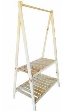 Perchero pino madera ropa rack exhibidor desarmable 60vrdes