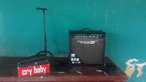 Combo amplificador line 6 spider ill paral pedal y cables