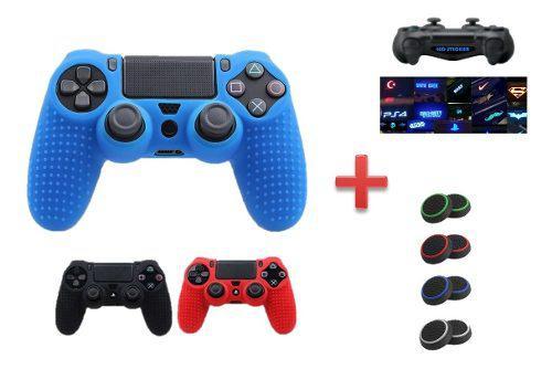 Combo forro control ps4 silicone + joystick + sticker led