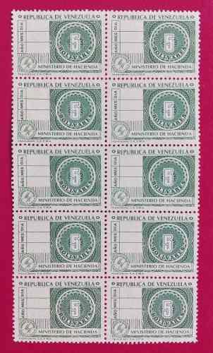 Timbres fiscales de colección 5 bolivares