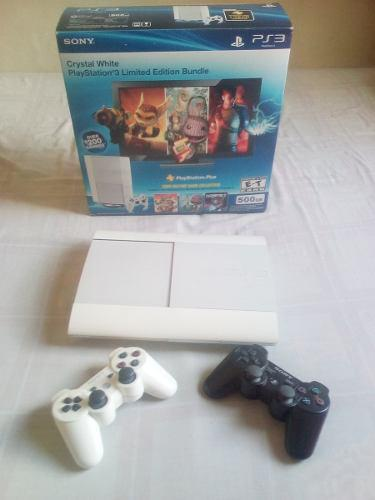 Playstation 3 500gb crystal white super slim + 31 juegos dig