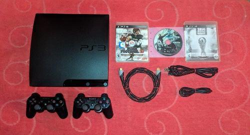 Playstation 3 slim 160gb + 2 controles + 5 juegos
