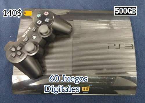 Ps3 superslim 500gb / 62 juegos digitales / [tienda física]