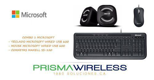 Kit combos teclado mouse cornetas microsoft ô maxell nuevos