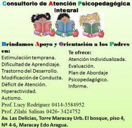 Consultorio de atención psicopedagogíca. brindamos apoyo y