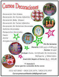 Cursos decoración para fiestas infantiles, globos, y telas.