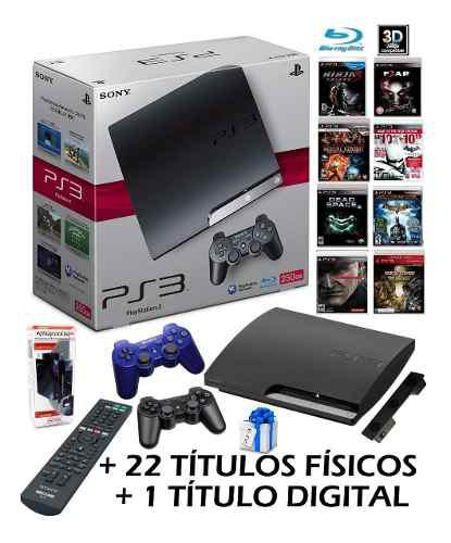 Playstation 3 hdd 250gb 3d 22 titulos fisicos control bluray