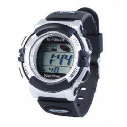 Reloj de pulsera digital, energía solar resistente al agua.