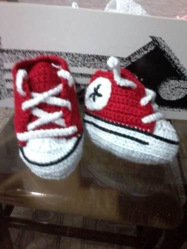 Escarpines zapatos tejido crochet bebes adidas converse jfr