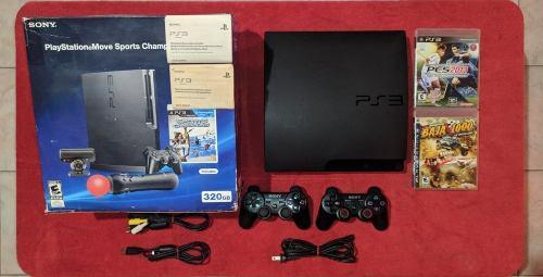 Playstation 3 slim 320gb + 2 controles + 3 juegos