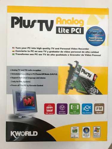 Capturadora de video y tv, plus tv analog lite pci. vea tv