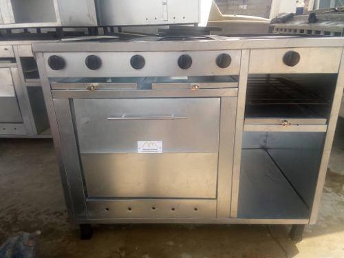 Cocina industrial 4 hornillas + plancha + horno + gratinador