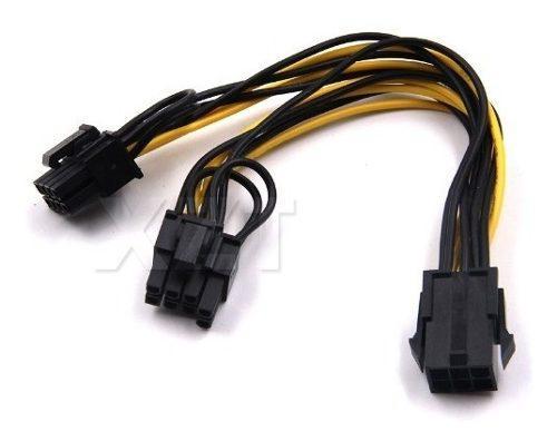 Duplicador split adaptador pcie 6 pin a 6+2 pin power