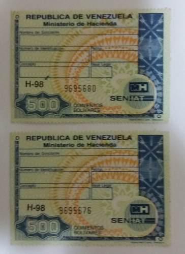 Estampilla timbre fiscal de 500 bolivares