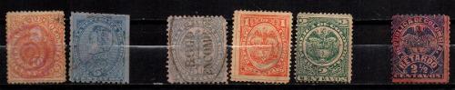 Estampillas Colombia 1886-1891-1892 Usadas