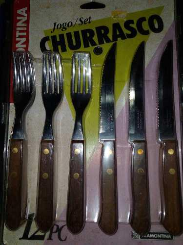 Juego De Cubiertos, Acero Y Madera 6 Tenedores Y 6 Cuchillos