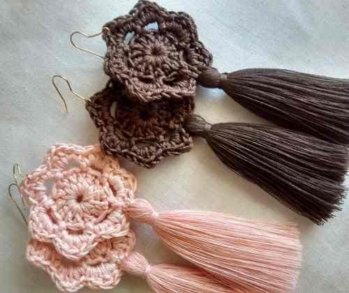 Maxi Zarcillo Borla Pompón Flor Tejido Crochet Moda 2019