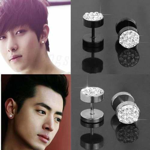 Zarcillos unisex de acero inoxidable cristal negro y plata