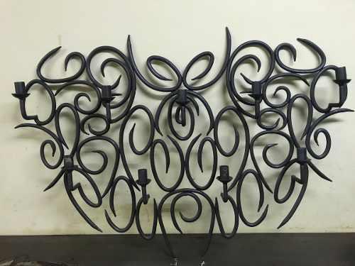 Candelabro de pared-nueve velas-en hierro forjado