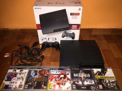 Consola ps3 160 gb slim+5 juegos físicos y 2 digitales