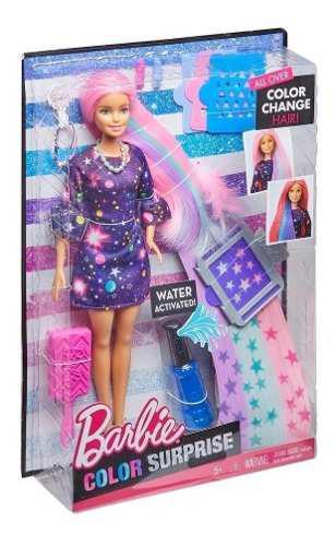 Muñeca barbie peinados sorpresa de color
