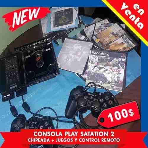 Consola play satation 2, chipeada + 50 juegos y control remo