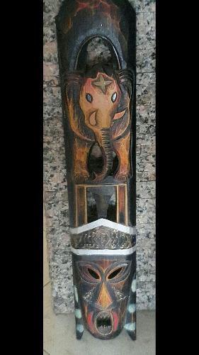 Mascara y elefante en talla de madera 79cm