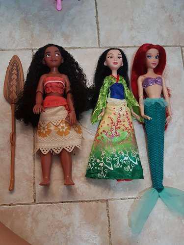 Moana mulan y ariel hermosas muñecas originales disney
