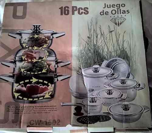 JUEGO OLLAS PIXYS 16 PIEZAS ACERO INOXIDABLE LUJO, usado segunda mano  Libertador-Mérida (Mérida)