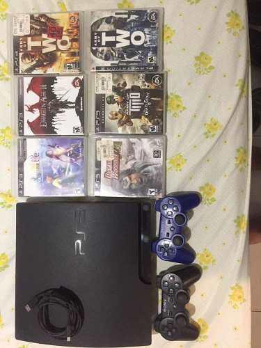 Playstation 3 slim 6 juegos 2 controles
