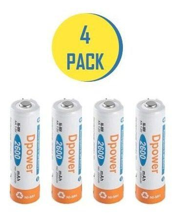 Bateria pila recargable doble a aa 2600mah calidad 4 unids