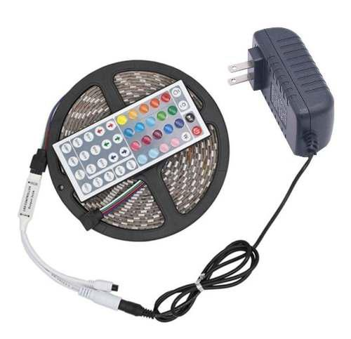 Kit cinta led rgb 5050 rollo 5 metros + control + adaptador