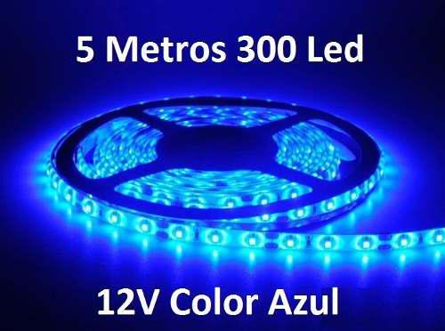 Tira cinta led 3528 color azul 5 metros 300 led 12 voltios