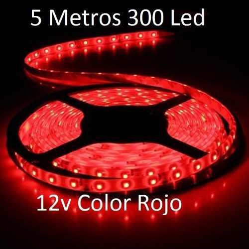 Tira cinta led 3528 rojo 5 metros 300 led 12 voltios