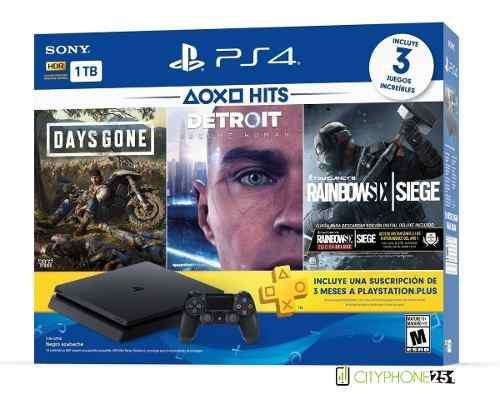 Playstation 4 1tb hits bundle 5 (3 juegos + 3meses ps plus)