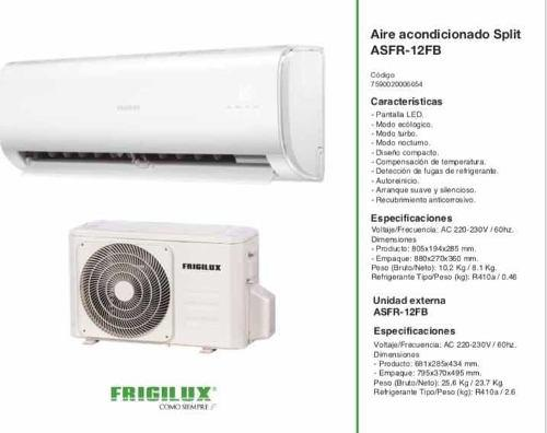 Aire acondicionado split 12000 btu marca frigilux