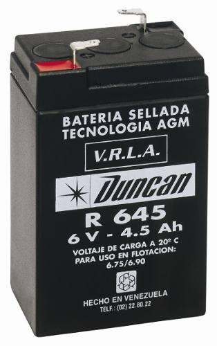 Batería duncan r-645 6v 4.5ah, para lámpara de emergencia