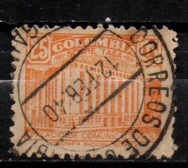 Estampilla colombia impuesto postal 1939 usada