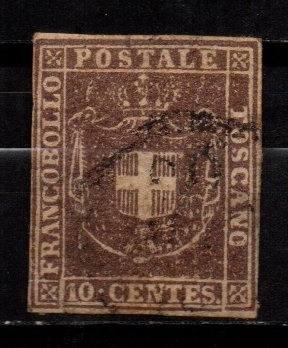 Estampilla italia-toscana 1860 gobierno provisional usada
