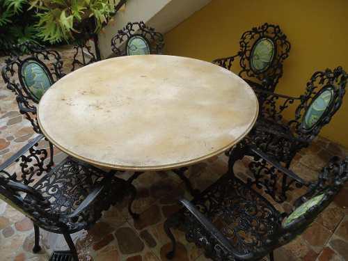 Juego de comedor hierro forjado de 6 sillas jardin o terraza