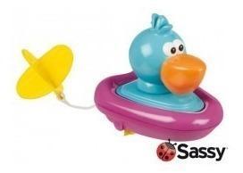 Barco juguete para ducha baño de pato a cuerda sassy bebes