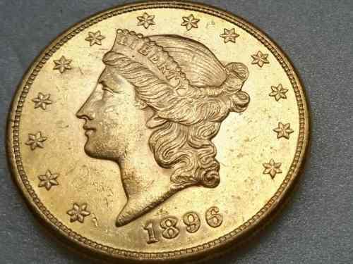 Moneda de oro ley 900 22 kts coleccion 20d 1896 beachin