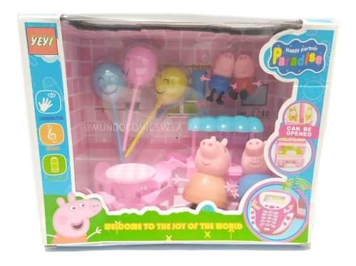 Set de comedor figuras familia peppa pig + accesorios