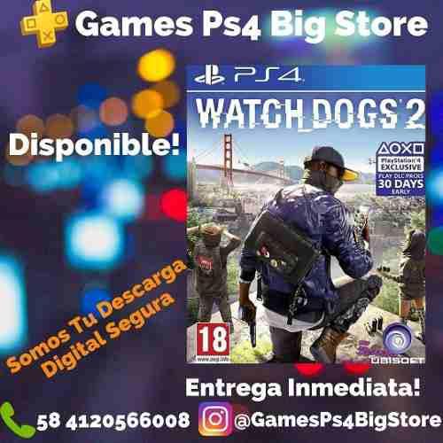 Watch dogss 2 ps4 digital +plus de 14 días gamesps4bigstore