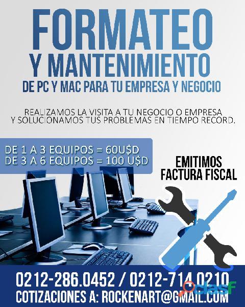 SERVICIO DE FORMATEO Y MANTENIMIENTO