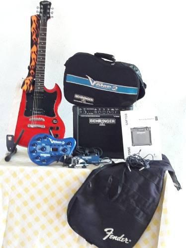 Combo guitarra eléctrica epiphone sg custom, micrófo