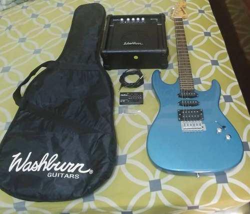 Guitarra electrica washburn pro azul 80 verdes