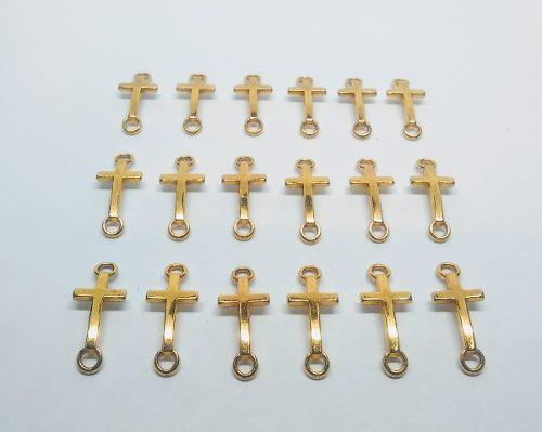 Dije cruz conector dorado 19 mm por docena