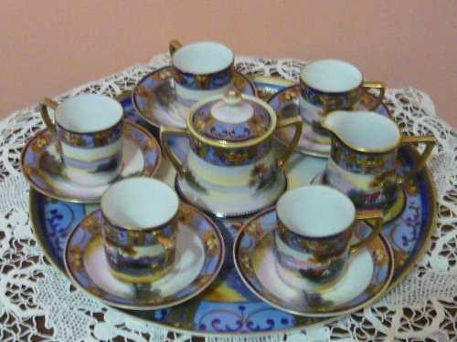 Porcelana noritake café té made in japan 75 greens leer